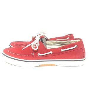 Sperry Top Slider Red Loafers Moccasin Shoe. Red